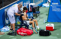 Aljaz Bedene of Slovenia receiving medical treatment  by Dejan Kumar during Singles in Quarter - Final of ATP Challenger Zavarovalnica Sava Slovenia Open 2019, day 8, on August 16, 2019 in Sports centre, Portoroz/Portorose, Slovenia. Photo by Vid Ponikvar / Sportida