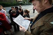 Alan, Student with certificate, Professor Coyle's Science Experiments outside the School of Cosmic Physics, Merrion Square, Dublin, during Walking Tour of Places of No Historical Interest, Festival of Fools, April 1st 2009, marking April Fool's Day, and the 43rd anniversary of the death of Irish author Flann O'Brien