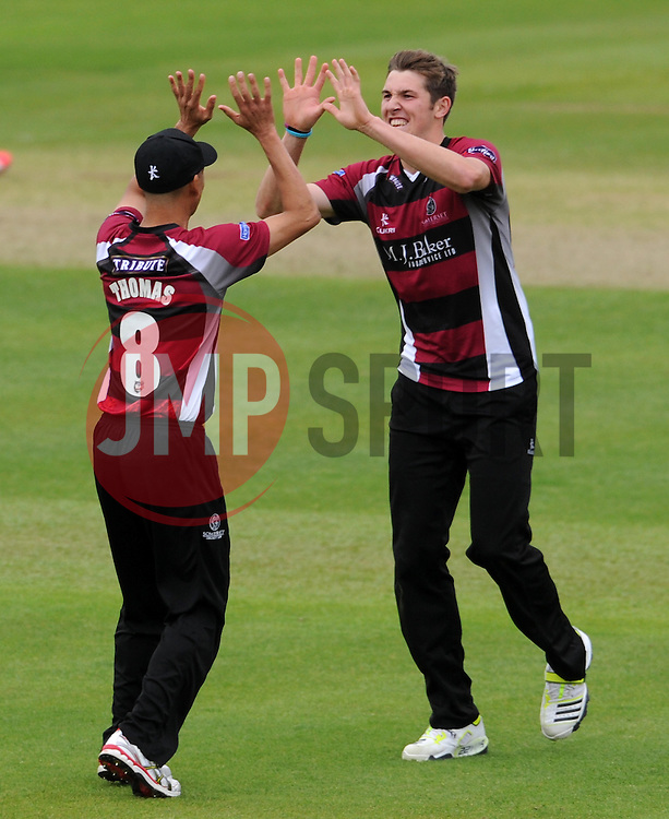 Somerset's Jamie Overton celebrates the wicket of Sussex's Luke Wright Photo mandatory by-line: Harry Trump/JMP - Mobile: 07966 386802 - 22/05/15 - SPORT - CRICKET - Natwest T20 Blast - Somerset v Sussex Sharks - The County Ground, Taunton, England.