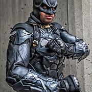 Cosplay attendee in his costume, as Armored Batman.<br />