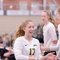 2nd year setter Kirstin Greve (17) of the Regina Cougars in action during Women's Volleyball home game on February 2 at Centre for Kinesiology, Health and Sport. Credit: Arthur Ward/Arthur Images