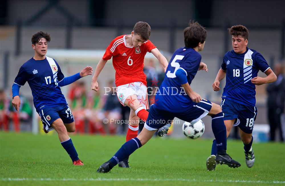 NEWPORT, WALES - Sunday, September 24, 2017: Wales' Owen Hesketh scores the third goal during an Under-16 International friendly match between Wales and Gibraltar at the Newport Stadium. (Pic by David Rawcliffe/Propaganda)