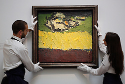 © licensed to London News Pictures. London, UK 09/11/2012. Frank Auerbach's Figure on Bed is estimated to sell for between £300,000-500,000 by Sotheby's on 13th November 2012 in the same auction with Blake's 1967 collage for the insert for The Beatles' legendary Sgt Pepper's Lonely Hearts Club Band. Photo credit: Tolga Akmen/LNP