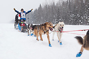 Musher Michi Konno at the Iditarod Ceremonial Start Race 2018.<br /> <br /> Photographer: Shun Adachi<br /> Copyright 2018, All Rights Reserved