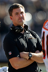 OAKLAND, CA - NOVEMBER 17: Head coach Zac Taylor of the Cincinnati Bengals stands on the sidelines before the game against the Oakland Raiders at RingCentral Coliseum on November 17, 2019 in Oakland, California. The Oakland Raiders defeated the Cincinnati Bengals 17-10. (Photo by Jason O. Watson/Getty Images) *** Local Caption *** Zac Taylor