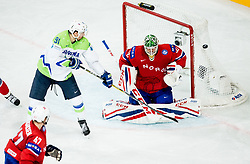 Miha Verlic of Slovenia vs Lars Haugen of Norway during the 2017 IIHF Men's World Championship group B Ice hockey match between National Teams of Slovenia and Norway, on May 9, 2017 in Accorhotels Arena in Paris, France. Photo by Vid Ponikvar / Sportida