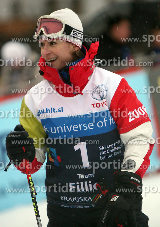 """Beatrice Filliol after the second run of """"Ski Legends HIT Challenge by Jure Kosir"""" event in Kranjska Gora, Slovenia, on February 2, 2008. (Photo by Vid Ponikvar / Sportal Images)."""