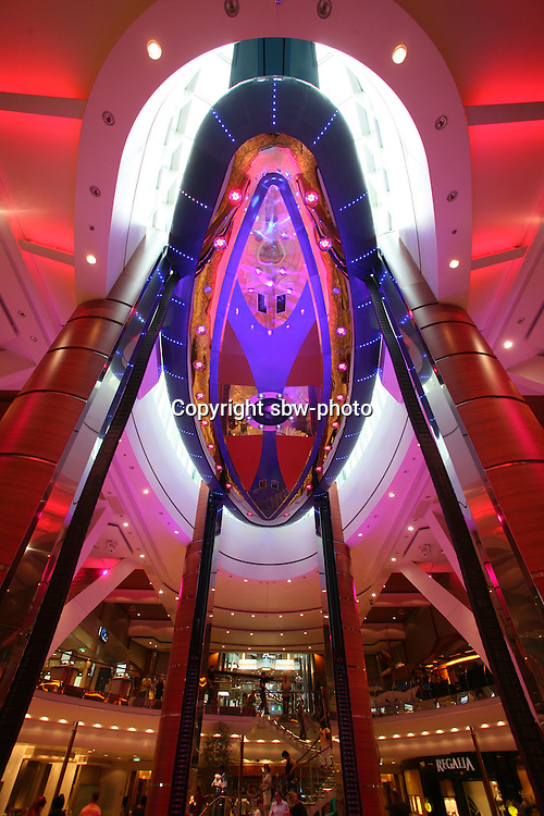 The launch of Royal Caribbean International's Oasis of the Seas, the worlds largest cruise ship..The Rising Tide Bar on The Royal Promenade.