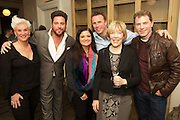 New York, NY - December 16, 2015: Celebrity chefs Anne Burrell, Scott Conant, Alex Guarnaschelli, Marc Murphy and Bobby Flay pose with retiring Food Network president, Brooke Johnson.<br /> <br /> CREDIT: Clay Williams.<br /> <br /> © Clay Williams / claywilliamsphoto.com