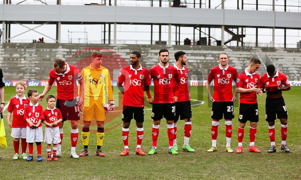 Bristol City starting XI line up before kick off - Photo mandatory by-line: Matt McNulty/JMP - Mobile: 07966 386802 - 03/04/2015 - SPORT - Football - Oldham - Boundary Park - Oldham Athletic v Bristol City - Sky Bet League One