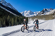 Fat biking on Maroon Creek Road in Aspen, Colorado.