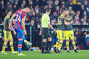 GOAL - 0-1. Southampton midfielder Nathan Redmond (22) celebrates with teammate, Southampton midfielder James Ward-Prowse (16) after scoring a goal during the Premier League match between Crystal Palace and Southampton at Selhurst Park, London, England on 21 January 2020.