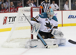 Oct 21; Newark, NJ, USA; San Jose Sharks goalie Antti Niemi (31) makes a save during the second period at the Prudential Center.