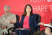 Labour Party Leadership and Deputy Leadership Hustings - East of England - The first of Labour&rsquo;s Leadership and Deputy Leadership regional and national hustings moderated by Gaby Hinsliff at The Forum Banqueting Suites Stevenage  20 June 2015 <br /> <br /> <br /> <br /> leader candidates <br /> <br /> <br /> Liz Kendall<br /> <br /> Jeremy Corbyn<br /> <br /> <br /> <br /> <br /> <br /> Photograph by Elliott Franks <br /> <br /> <br /> <br />  <br /> Image licensed to Elliott Franks Photography Services