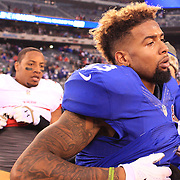 Odell Beckham Jr, New York Giants after the New York Giants V San Francisco 49ers, NFL American Football match at MetLife Stadium, East Rutherford, NJ, USA. 16th November 2014. Photo Tim Clayton