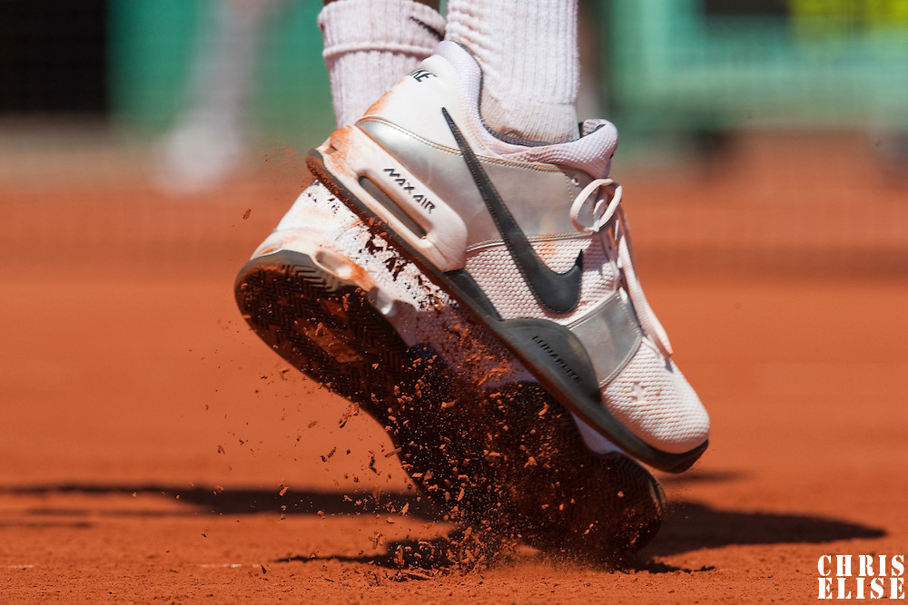 30 May 2009: Details of Gael Monfils of France during the Men's Singles third round match on day seven of the French Open at Roland Garros in Paris, France.