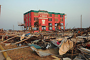 "A popluar souveniour shop in Biloxi Mississippi completely wiped out by HUrricane Katrina. ""Sharkheads Souvieners"" was beach icon, the entrance was a huge sharks head pictured at sunset Sept. 18,2005.©SUZI ALTMAN PHOTOGRAPHER www.suzisnaps.com .cell phone 601-668-9611(Photo/Suzi Altman)"