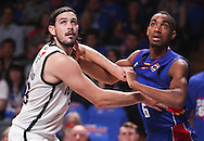 14/10/2016 Terrance Ferguson fights for position against Melbourne United guard Chris Goulding (#43) as he makes his debut in front of the Adelaide 36ers home crowd as the Adelaide 36ers vs Melbourne United at the Titanium Security Arena.