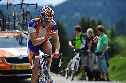 A Rabobank rider discards an empty Coke can on the top of the Col de la Joux Plane during stage 6 of the Criterium du Dauphine. Photo by Simon Parker/SPactionimages