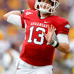 November 25, 2011; Baton Rouge, LA, USA; Arkansas Razorbacks quarterback Brandon Allen (13) prior to kickoff of a game against the LSU Tigers at Tiger Stadium. LSU defeated Arkansas 41-17. Mandatory Credit: Derick E. Hingle-US PRESSWIRE