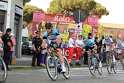 Napoli, Italy - Giro d'Italia - May 4, 2013 - Mark CAVENDISH (OPQ) in the peloton with Argos and Quickstep in front