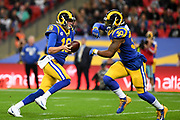 LA Rams Quarterback Jared Goff (16)  hands the football too LA Rams Running Back Todd Gurley (30) during the International Series match between Los Angeles Rams and Cincinnati Bengals at Wembley Stadium, London, England on 27 October 2019.