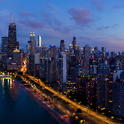 Chicago Loop Northside aerial dusk view from North Avenue Beach, 2019.