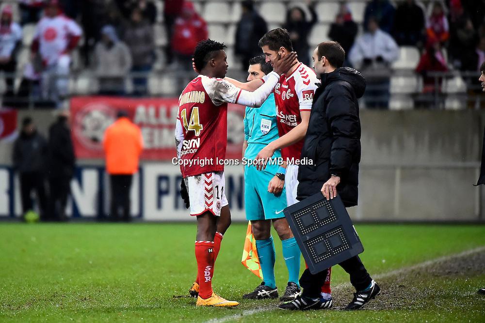 Changement Benjamin MOUKANDJO / Anthony WEBER  - 13.12.2014 - Reims / Evian Thonon  - 18eme journee de Ligue1<br />Photo : Fred Porcu / Icon Sport
