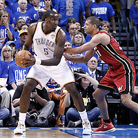12 June 2012: Oklahoma City Thunder center Kendrick Perkins (5) posts up Miami Heat small forward Shane Battier (31) during the first quarter of Game 1 of the 2012 NBA Finals between the Heat and the Thunder, at the Chesapeake Energy Arena, Oklahoma City, Oklahoma, USA.