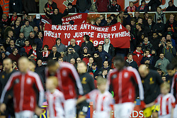 STOKE-ON-TRENT, ENGLAND - Boxing Day Wednesday, December 26, 2012: Liverpool supporters' banner 'Injustice Anywhere Is A Threat To Justice Everywhere' before the Premiership match against Stoke City at the Britannia Stadium. (Pic by David Rawcliffe/Propaganda)