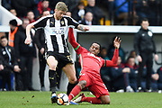 Swansea City midfielder Renato Sanches (35) fouls Notts County forward Jonathan Stead (30)  during the The FA Cup 4th round match between Notts County and Swansea City at Meadow Lane, Nottingham, England on 27 January 2018. Photo by Jon Hobley.