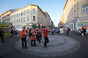 SOHO in Ottakring. A marching band..Now in its 9th year, SOHO in Ottakring is an established art festival in public spaces of Vienna's 16th city district. In cooperation with the local community, up to 200 artists take part in the annual festival at the end of May/beginning of June. The festival is a huge success and has helped develop the formerly neglected and decaying district into a sprawling, 'hip' urban area. More info in German at: www.sohoinottakring.at