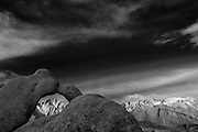 black and white infra red photograph of the high sierra and Mt. Whitney through the arches in Alabama Hills