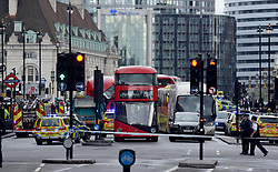 Police close to the Palace of Westminster, London, after sounds similar to gunfire have been heard close to the Palace of Westminster. A man with a knife has been seen within the confines of the Palace, eyewitnesses said.