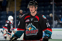 KELOWNA, CANADA - SEPTEMBER 22: Kole Lind #16 of the Kelowna Rockets warms up for the home opener against the Kamloops Blazers on September 22, 2017 at Prospera Place in Kelowna, British Columbia, Canada.  (Photo by Marissa Baecker/Shoot the Breeze)  *** Local Caption ***