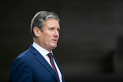© Licensed to London News Pictures. 05/01/2020. London, UK. Shadow Brexit Secretary Sir Keir Starmer talks to the media as he leaves The BBC after appearing on the Andrew Marr Show. Photo credit: George Cracknell Wright/LNP