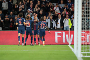 Angel Di Maria (PSG) scored a goal and celebrated it with Christopher Alan NKUNKU (PSG), Moussa DIABY (PSG), Edinson Roberto Paulo Cavani Gomez (El Matador) (El Botija) (Florestan) (PSG) during the French Championship Ligue 1 football match between Paris Saint-Germain and AS Saint-Etienne on September 14, 2018 at Parc des Princes stadium in Paris, France - Photo Stephane Allaman / ProSportsImages / DPPI