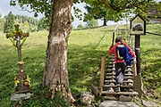 A walker climbs wooden steps in Biala Woda in the Tatra mountains, passing a sheet metal Jesus crucifix (a popular local copy from an historical Rutherian church) near Jaworki, on 20th September 2019, near Szczawnica, Malopolska, Poland. The village of a thriving Rutherian community was once here in Biala Woda where over 100 farms were located - the remains of which are still seen. A wooden cross with a figure of Christ cut from sheet metal survived the culture.Similar crosses and chapels can be found in the colloquial language of White Water  in the Romanian, Ukrainian or Eastern Slovakia Carpathians.