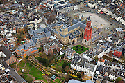 Nederland, Limburg, Maastricht, 2010-11-15; Vrijthof  met de St Servaasbasiliek. en de rode toren van de Sint Janskerk.  The Vrijthof, the Saint Servaas Basilica. and the red tower of St John's Church. Luchtfoto (toeslag), aerial photo (additional fee required).foto/photo Siebe Swart