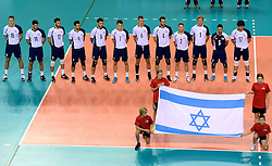 02-10-2013 VOLLEYBAL: WK KWALIFICATIE MANNEN NEDERLAND - ISRAEL: ALMERE<br /> Nederland wint met 3-0 van Israel / Team Israel<br /> ©2013-FotoHoogendoorn.nl