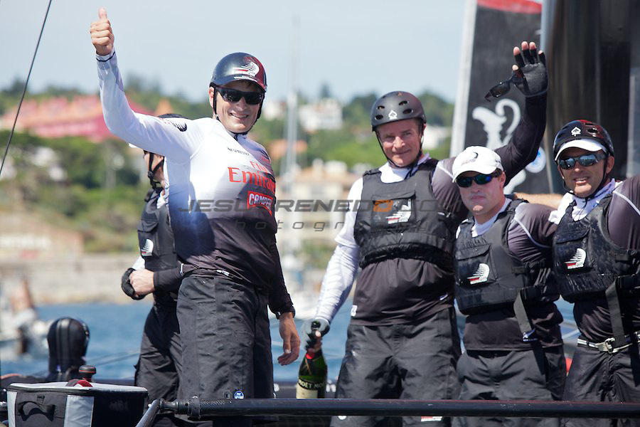 AC World Series,Cascais,Portugal.Fleet racing final , winner ENTZ,second Artemis,third oracle Racing 4.ETNZ´s dean Barker and his crew celebrating the victory.