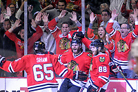 28 May 2014 Chicago Blackhawks left Wing Brandon Saad 20 Celebrates with teammates After Scoring A Goal in Action during Game 5 of The Stanley Cup Playoffs Western Conference Final between The Los Angeles Kings and The Chicago Blackhawks AT The United Center in Chicago Il NHL Ice hockey men USA May 28 Stanley Cup Playoffs Western Conference Final Kings AT Blackhawks Game 5 <br />
