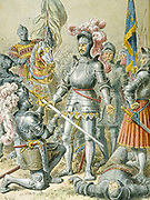 Francois I (1494-1547) King of France from 1515. Francois at the Battle of Pavia, 24 February 1525, where he was captured by the Spanish troops and imprisoned by Charles V.