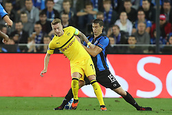 September 18, 2018 - Brugge, BELGIUM - Dortmund's Marco Reus and Club's Matej Mitrovic fight for the ball during a game between Belgian soccer team Club Brugge KV and German club Borussia Dortmund, in Brugge, Tuesday 18 September 2018, day one of the UEFA Champions League, in group A. BELGA PHOTO BRUNO FAHY (Credit Image: © Bruno Fahy/Belga via ZUMA Press)
