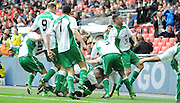 North Ferriby celebrate their equaliser during the FA Carlsberg Trophy Final match between North Ferriby United and Wrexham FC at Eon Visual Media Stadium, North Ferriby, United Kingdom on 29 March 2015. Photo by Michael Hulf.