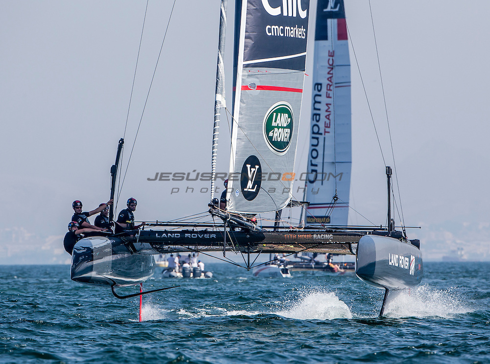 Louis Vuitton America's Cup World Series 2016 Oman. Land Rover BAR, Ben Ainslie,Paul Campbell-James,Giles scott,Nick Hutton,David Carr<br /> . Muscat ,The Sultanate of Oman.Image licensed to Jesus Renedo/Lloyd images/Oman Sail