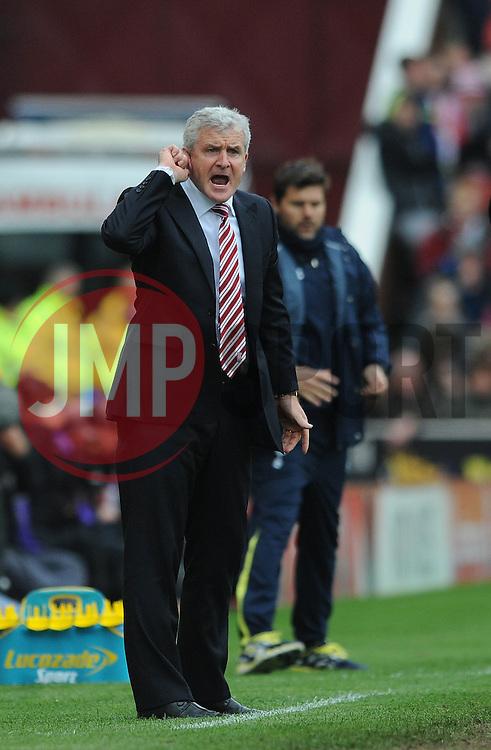 Stoke Manager, Mark Hughes - Photo mandatory by-line: Dougie Allward/JMP - Mobile: 07966 386802 - 09/05/2015 - SPORT - Football - Stoke - Britannia Stadium<br />  - Stoke v Tottenham Hotspur - Barclays Premier League