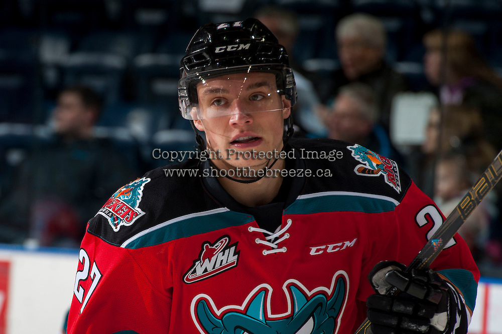 KELOWNA, CANADA - DECEMBER 7: Calvin Thurkauf #27 of the Kelowna Rockets warms up against the Seattle Thunderbirds on December 7, 2016 at Prospera Place in Kelowna, British Columbia, Canada.  (Photo by Marissa Baecker/Shoot the Breeze)  *** Local Caption ***