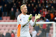 Kasper Schmeichel (1) Goalkeeper of Leicester City applauds the travelling fans at full time after a 0-0 draw during the Premier League match between Bournemouth and Leicester City at the Vitality Stadium, Bournemouth, England on 30 September 2017. Photo by Graham Hunt.