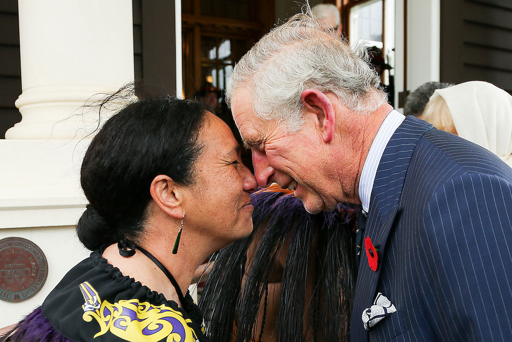 Prince Charles, Prince of Wales, is welcomed with a hongi from New Zealand Defence Force Flight Sergeant Wai Paenga during a welcome ceremony at Government House, Wellington, New Zealand, Wednesday, November 04, 2015. Credit:SNPA / Getty, Hagen Hopkins **POOL**